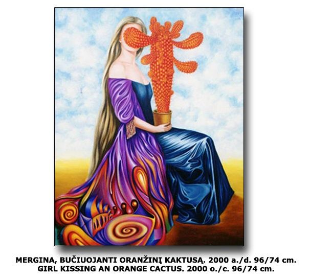 GIRL KISSING AN ORANGE CACTUS. - Painting,  29.1x37.8 in, ©2000 by Tautvydas Davainis -