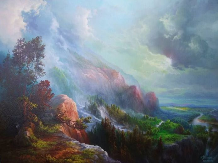 """Painting titled """"Cloudy Day At the N…"""" by Konstantinos Tosounidis, Original Art, Oil"""