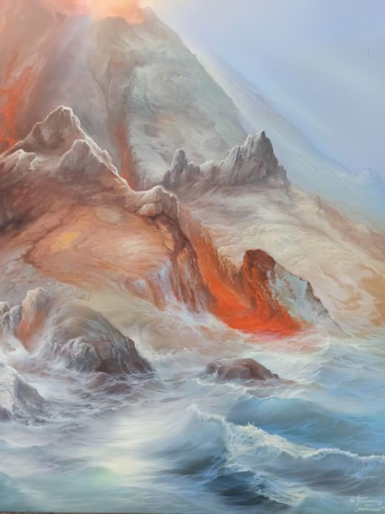 """Painting titled """"Flaming Volcano"""" by Konstantinos Tosounidis, Original Art, Oil"""