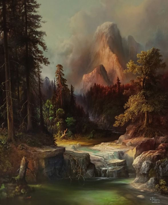 """Painting titled """"A river in the wild…"""" by Konstantinos Tosounidis, Original Art, Oil"""