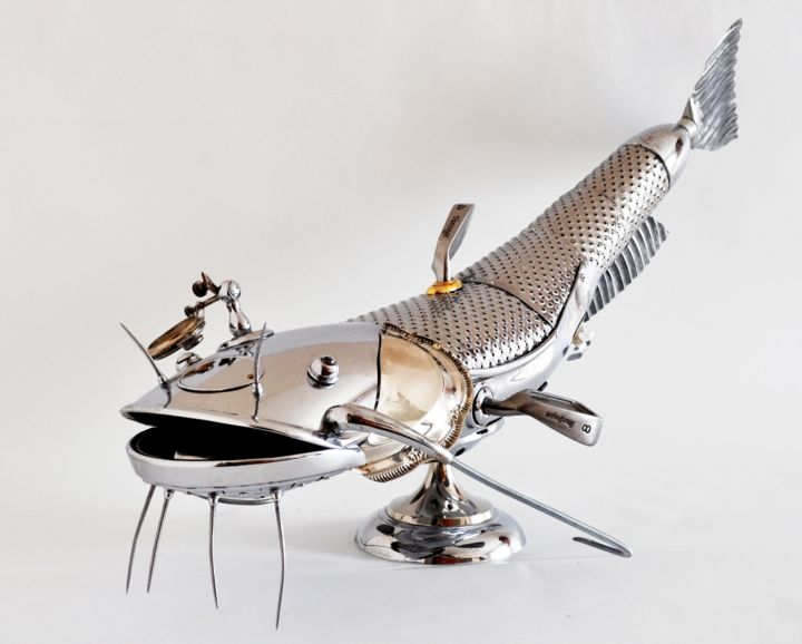Fish Sculpture, stainless steel, impressionism, artwork by Artūras Tamašauskas