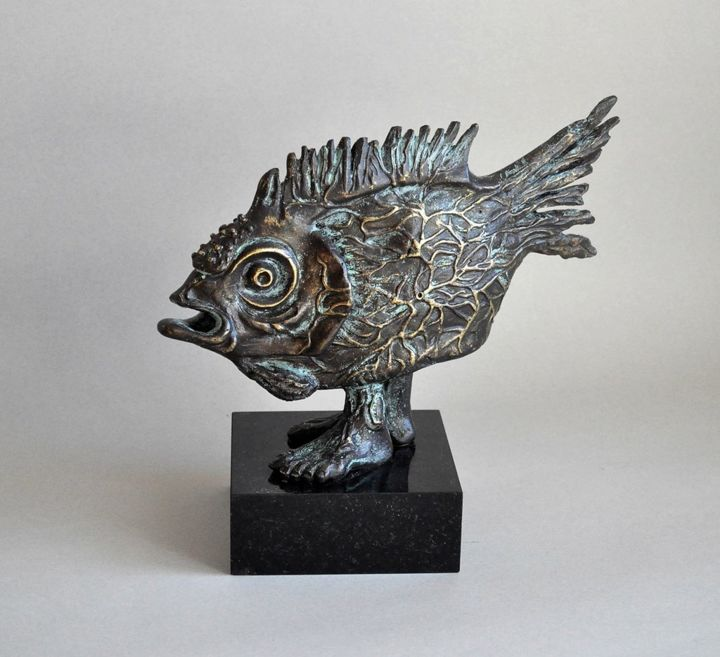 Fish Sculpture, bronze, surrealism, artwork by Artūras Tamašauskas