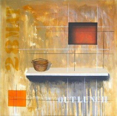 Outlunch - Painting,  100x100 cm ©2004 by Arturo Carrión -