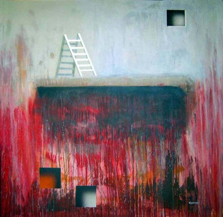 Looking for the heights - Painting,  100x100 cm ©2005 by Arturo Carrión -