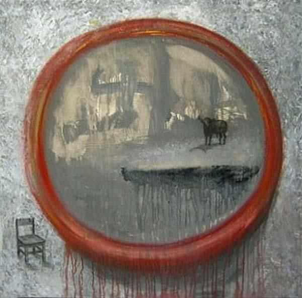 Seat and Bull - Painting,  100x100 cm ©2005 by Arturo Carrión -
