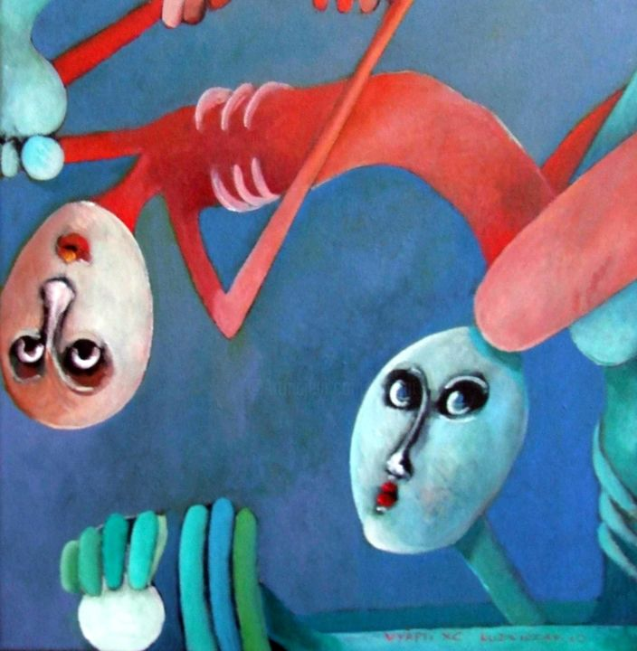 Vyâpti XC  Kama circulaire - Painting,  15.8x15.8 in, ©2010 by Artvrai -                                                              Acrylique sur toile