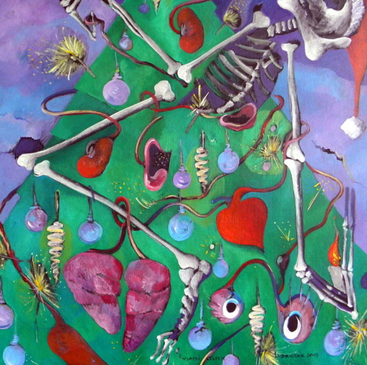 vyapti CCLXXIX Don d'organes - Painting,  35.4x35.4 in, ©2015 by ARTVRAI -                                                                                                              Body, don