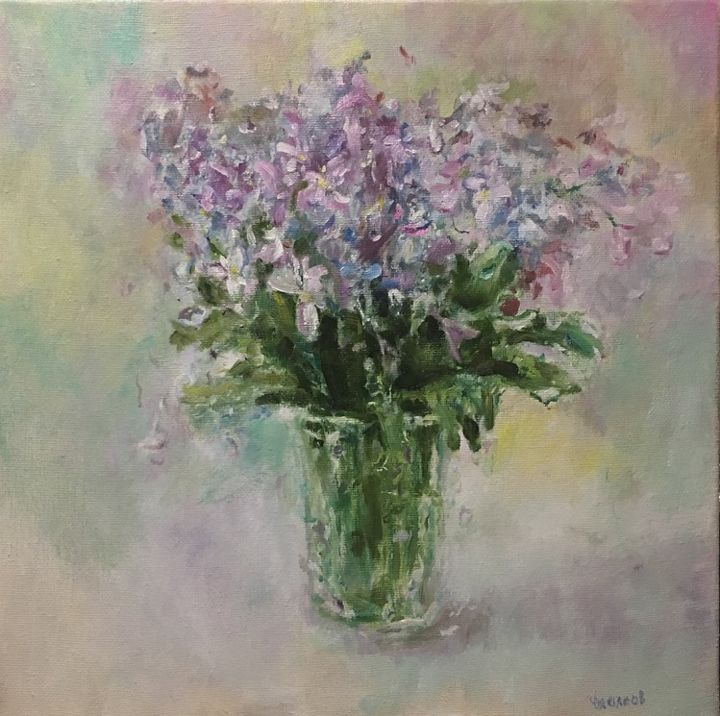 Oil Painting On Canvas Flowers Still Life Artwork - Painting,  30x30 cm ©2017 by Vsevolod Chistiakov -                                                                                                        Figurative Art, Impressionism, Realism, Women, Cuisine, Love / Romance, Family, oil Painnting, Oil Painting On Canvas, Flowers, Still Life Artwork, Anniversary Gift, Boss Gift, Birthday Gift, Mothers Day Gift, Hostess Gift, Kitchen Wall Art, Bedroom Wall Art, Living Room Wall Art, Contemporary Art