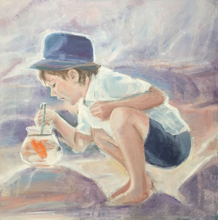 Oil Painting On Canvas Golden Fish - Painting,  15.8x15.8x0.8 in, ©2018 by Vsevolod Chistiakov -                                                                                                                                                                                                                                                                                                                                                                                                                                                                                                                                                                                                                                                                                                                                                                                                                                                                                                                                                                                                                                                                                                                                                                                      Figurative, figurative-594, Seasons, Children, Spirituality, Love / Romance, People, oil painting, child portrait, Boy, Little Boy, Gold Fish, Dining Room Wall Art, Living Room Wall Art, Custom Interior Design, Elegant Wall Decor, Contemporary Art, Contemporary Painting, Bridal Shower Gift, Corporaite Gift, Hostess Gift, Gift For Her, Personalized Gift, New Homeowner Gift, Home Decor