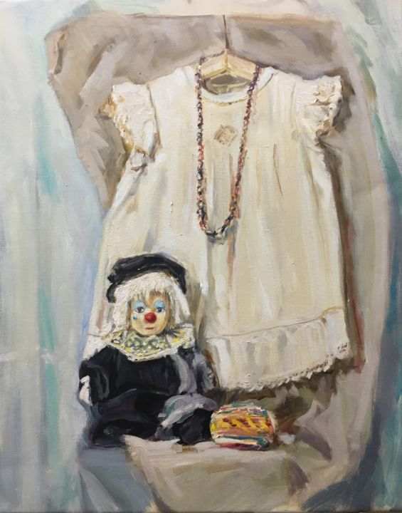 Red nose Oil Painting On Canvas Still life - © 2019 slill life, dress, clown, home decor, oil painting, original artwork, impressionism art, contemporary artist, contemporary painting, white dress, kinder home, still life artwork, russian artist, impressoinism artwork, oil painting on canvas, still life doll, old dolls, little dress Online Artworks