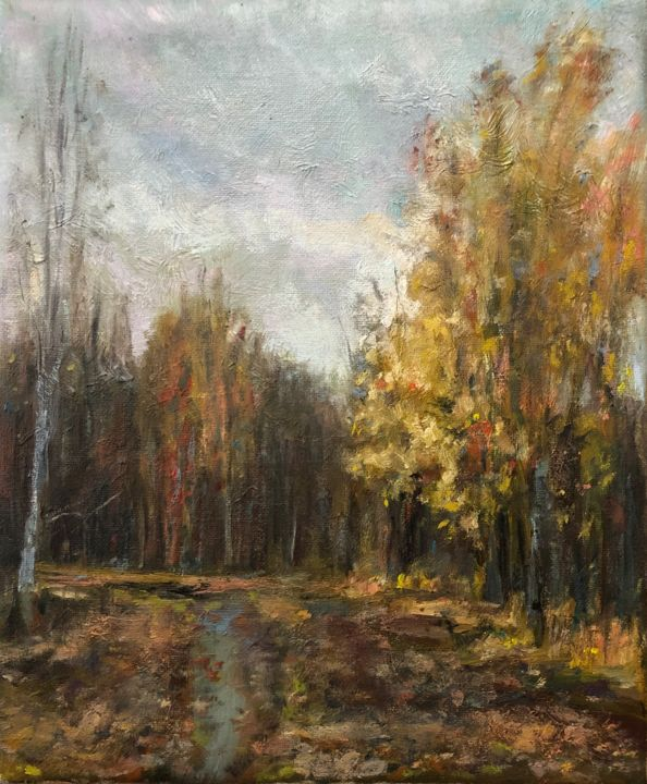 Gold of Autumn - Painting,  9.5x7.9x0.8 in, ©2019 by Vsevolod Chistiakov -                                                                                                                                                                                                                                                                                                                                                                                                                                                                                                                                                                                                                                                                                                                                                                                                                                                                  Figurative, figurative-594, Seasons, Time, Nature, Rural life, Family, oil painting on cancas, landscape, plienair art, home decor, artwork decoration, realistic artwork, realism oil painting, gift fir her, autumn art, autumn, gold