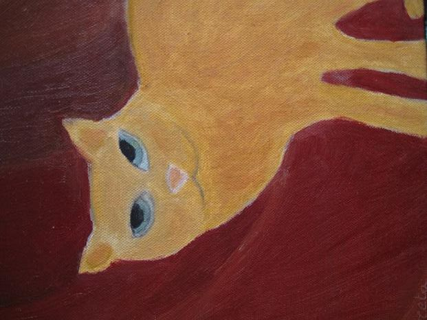 Cat eyes' : Ginger - Painting,  30.48x25.4 cm ©2008 by Coreta Odje -            Ginger Cat