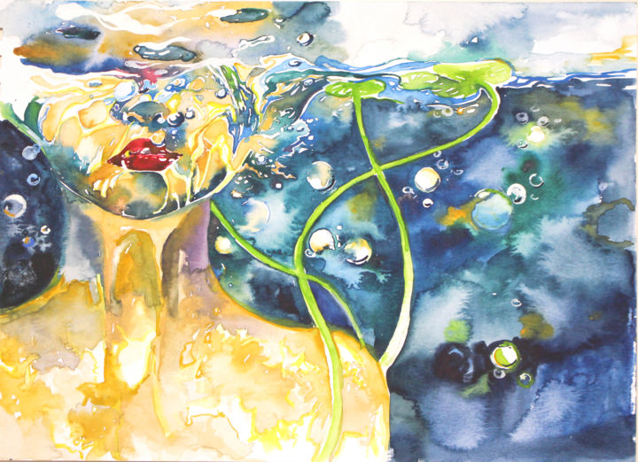 """Painting titled """"Mermaid"""" by Arty Guava, Original Art, Watercolor"""