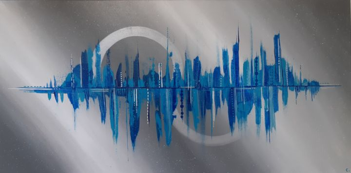 City miror - Painting,  15.8x31.5x0.7 in, ©2019 by Artylique -                                                                                                                                                                                                                                                                                                                                                          Abstract, abstract-570, abstrait, acrylique, colors, couleurs, peinture