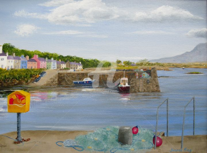 'Fishing Nets on the Quay, Roundstone' Painting by Yvonne King - © 2013 Landscape Painting, Seascape, Roundstone, Fishing Village, Yvonne King, Wild Atlantic Way, West coast Ireland, Connemara, County Galway, Boats, Fishing Nets, Lobster Pots, Buoys, Atlantic Ocean, Twelve Bens Mountains, Scottish Engineer Alexander Ni Œuvres-d'art en ligne