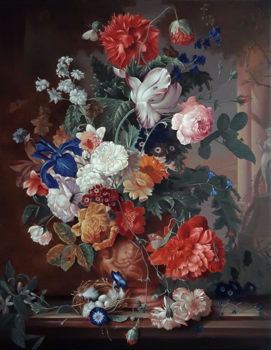 """Painting titled """"Flowers in a terrac…"""" by Zapta, Original Art, Oil Mounted on Stretcher frame"""