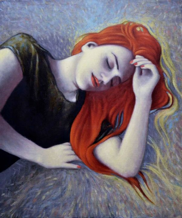 """Painting titled """"A sleep girl"""" by Zapta, Original Art, Oil Mounted on Stretcher frame"""