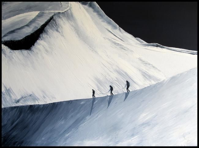 Vers le Mont-Blanc - Painting,  23.6x31.5 in, ©2013 by Isabelle Nicolazzo - Zazou -                                                                                                                                                                          Figurative, figurative-594, Montagne Mont-Blanc