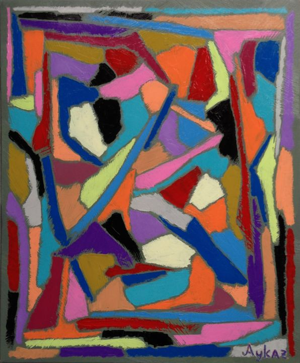 Composition 93 (46x38cm.) - Painting,  18.1x15x0.8 in, ©2016 by Aykaz Arzumanyan -                                                                                                                                                                                                                                                                      Abstract, abstract-570, Abstract Art, Colors, aykaz arzumanyan art