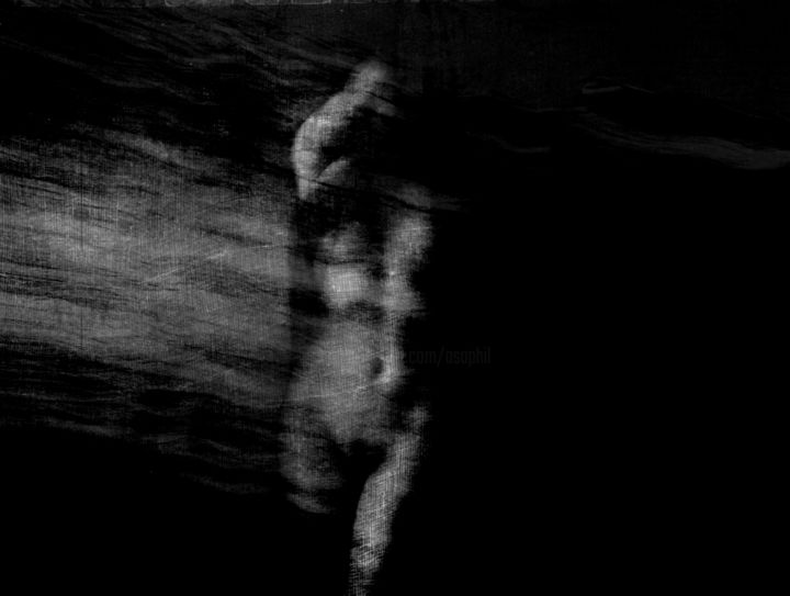 L'envol... - Photography, ©2019 by Philippe Berthier -                                                                                                                                                                                                                                                                                                                                                                                                                                                                                                                                                  Surrealism, surrealism-627, Other, Body, Women, Black and White, Nude, mouvement, noir, sombre, Black and White