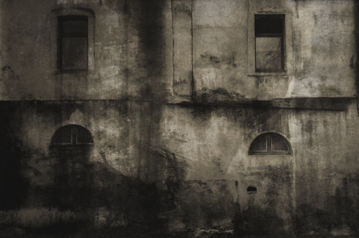 Façade II - Photography, ©2020 by Philippe Berthier -                                                                                                                                                                                                                                                                                                                                                                                                                                                                                                                                                                                                                                                                                                                                                                          Abstract, abstract-570, Abstract Art, Wall, sombre, formes, images, lignes, création, oeuvre, moderne, surréaliste, figures, fissure, craquelure, ancien