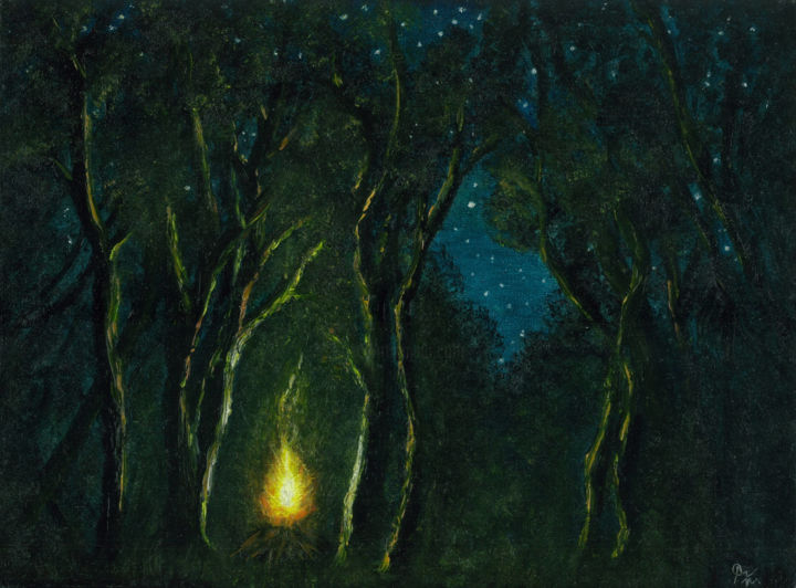 """Painting titled """"Camping in the Dark…"""" by Ash Davies, Original Art, Oil Mounted on Stretcher frame"""