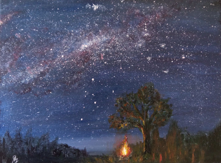 """Painting titled """"Stargazing by Campf…"""" by Ash Davies, Original Art, Acrylic Mounted on Stretcher frame"""