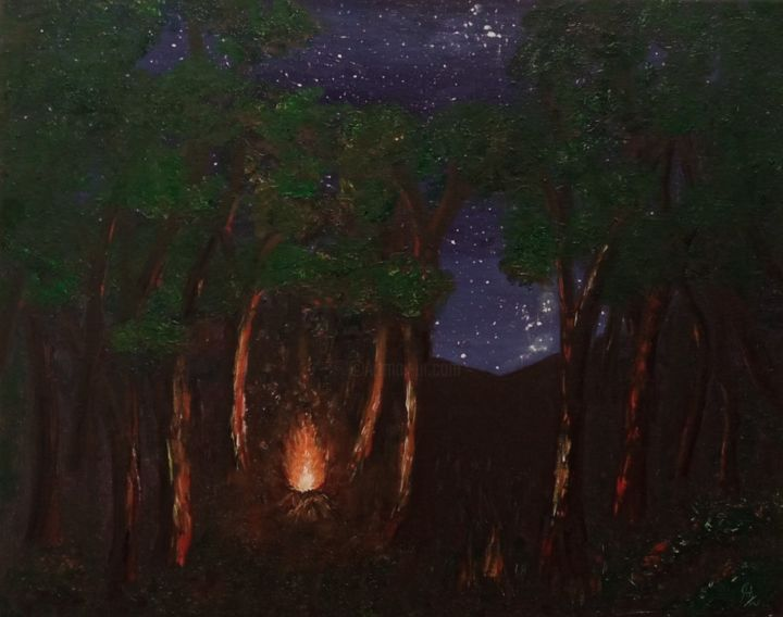 """Painting titled """"Campfire"""" by Ash Davies, Original Art, Oil Mounted on Stretcher frame"""