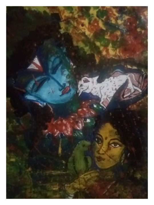 Lord Krishna love - Drawing,  20.1x15.8 in, ©2019 by Ab Mehra Batoshiy -                                                                                                                                                                                                                      Abstract, abstract-570, artwork_cat.Dark-Fantasy, artwork_cat.Love/Romance