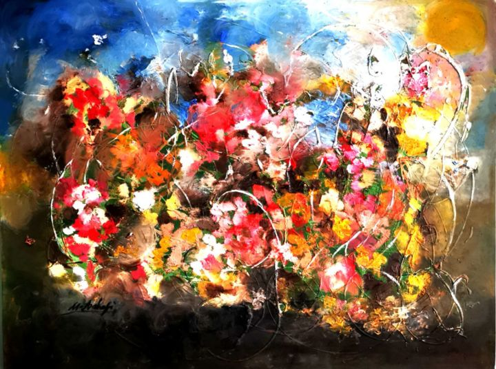 """Painting titled """"My Imaginary Flowers"""" by Mansoureh Ashrafi, Original Art, Oil"""