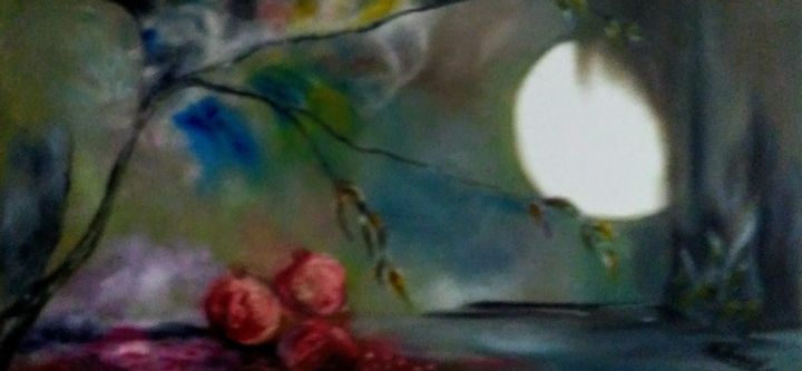 """Painting titled """"Pomegranates And Mo…"""" by Mansoureh Ashrafi, Original Art, Oil"""