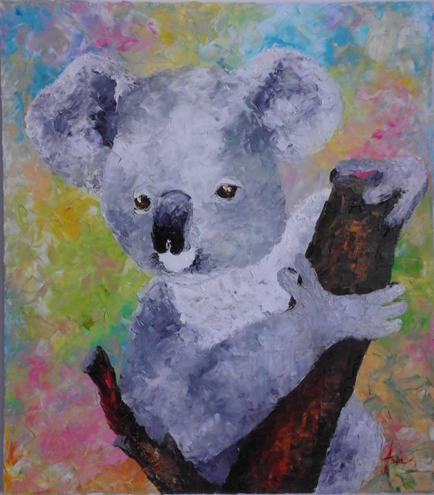 ''Koala'' - Painting,  60x53x3 cm ©2017 by Asia -                                                                                Contemporary painting, Impressionism, Modernism, Portraiture, Animals, koala, animals art, gree animas