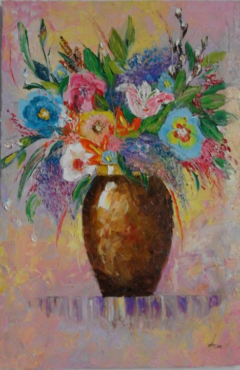 Flowers 2 - Painting,  23.6x15.8x0.8 in ©2017 by Asia -                                                                    Contemporary painting, Impressionism, Modernism, Flower, flowers in a vase, flowers, still live, palette knife art