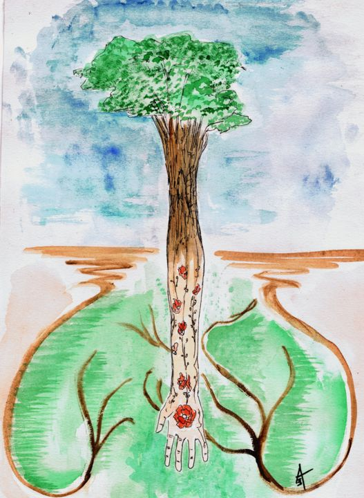 """Painting titled """"From Our Roots"""" by Askew Mind, Original Art, Watercolor"""