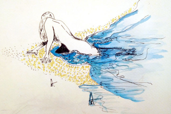 """Drawing titled """"Out of water."""" by Askew Mind, Original Art, Ink"""