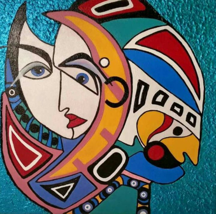 """Painting titled """"Behind the """"face"""" -…"""" by Askunst Danmark/Nyborg, Original Art,"""