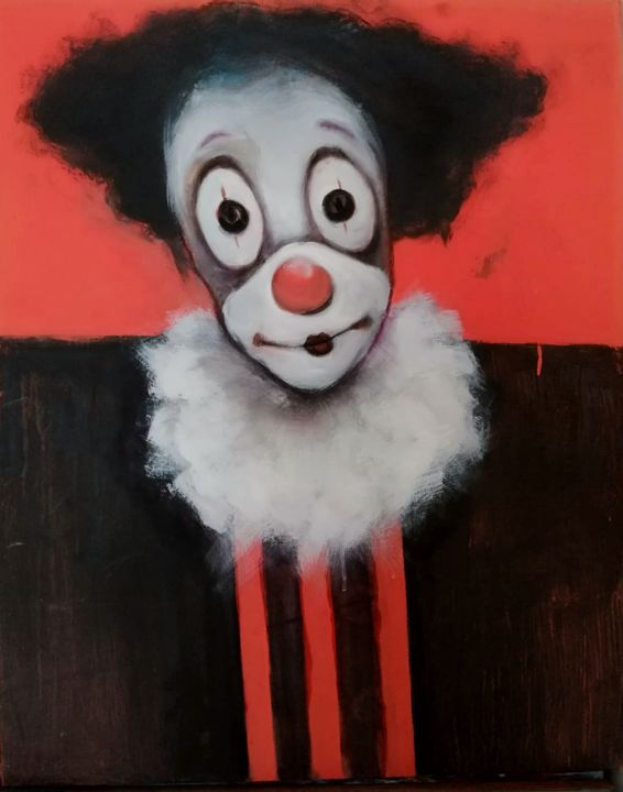 clown - Painting,  43.3x31.5x1.2 in, ©2020 by Aslan Ünsal -                                                                                                                                                                                                                                                                                                                                                              Figurative, figurative-594, People, clown, art, canvas, human