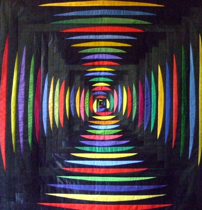Vibrations.jpg - Mixed Media,  118x116x1 cm ©2013 by Jean Pierre Avonts-Saint-Lager -                                                            Abstract Art, Fabric, Architecture, textile, tissu, labyrinthe