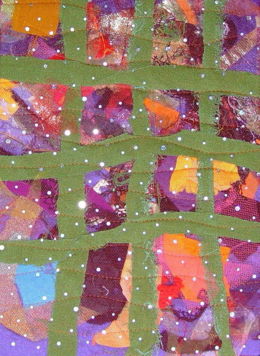Barrière.jpg - Textile Art,  50x40x1 cm ©2019 by Jean Pierre Avonts-Saint-Lager -                                            Abstract Art, Abstract Art, patchwork, tissu, textile