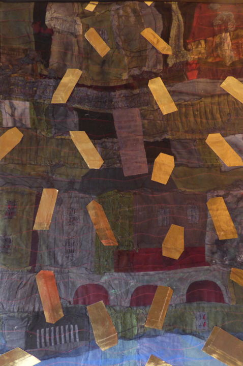 L'or et la misère.jpg - Textile Art,  132x83x1 cm ©2018 by Jean Pierre Avonts-Saint-Lager -                                            Abstract Art, Abstract Art, patchwork, tissus, textile, misère, argent