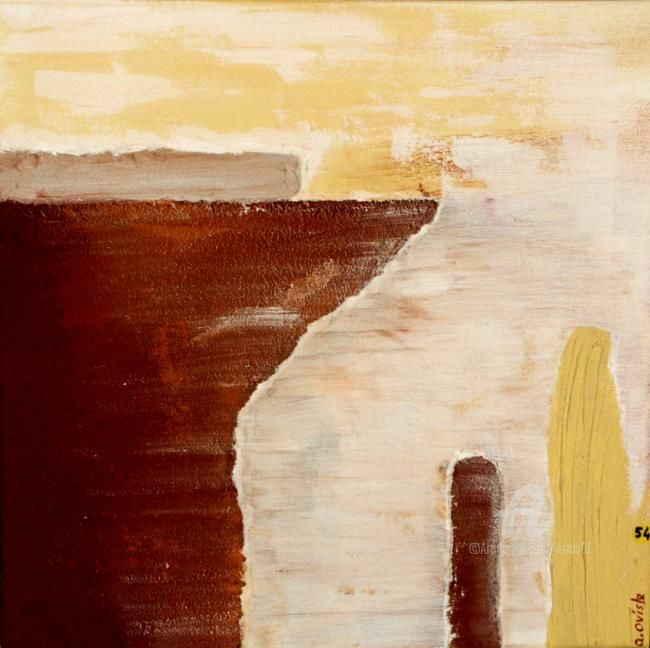 TERRE D'OCRE - Painting,  19.7x19.7 in, ©2009 by Alain Oviste -