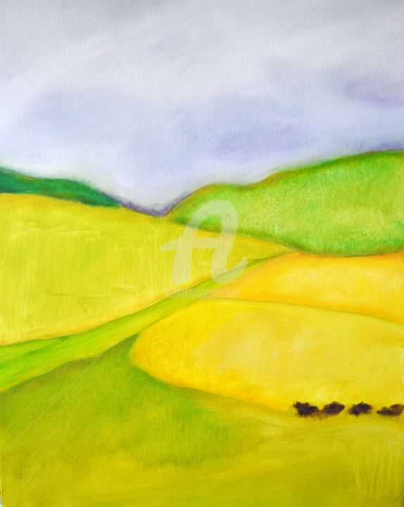 """Painting titled """"Yellow fields"""" by Lisa Astrup, Original Art, Oil"""