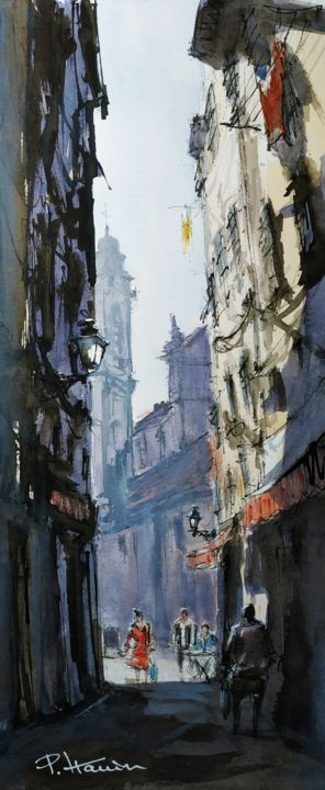 """Painting titled """"Ruelle Vieux Nice 1…"""" by Patrick Hanin, Original Art, Watercolor"""
