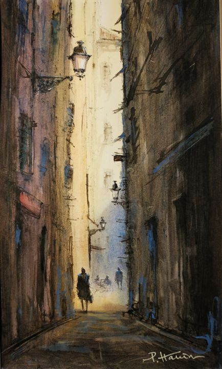 """Painting titled """"Ruelle Vieux Nice 1…"""" by Patrick Hanin, Original Art, Watercolor Mounted on Cardboard"""