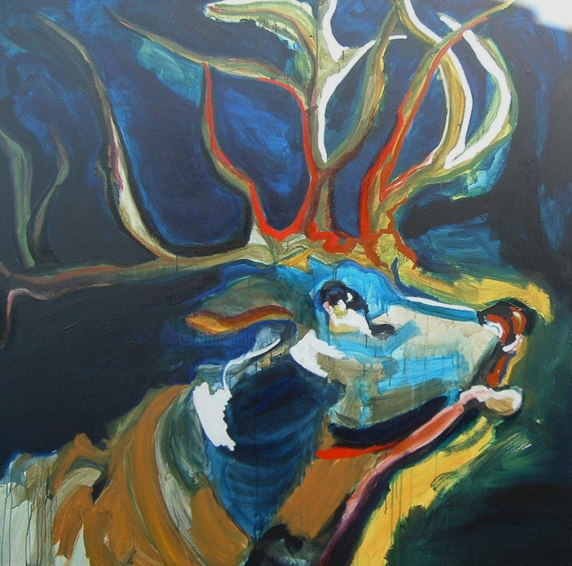 Le grand cerf - Painting,  170x170x5 cm ©2005 by Cécile Coutant -                                                                    Figurative Art, Expressionism, Canvas, Animals