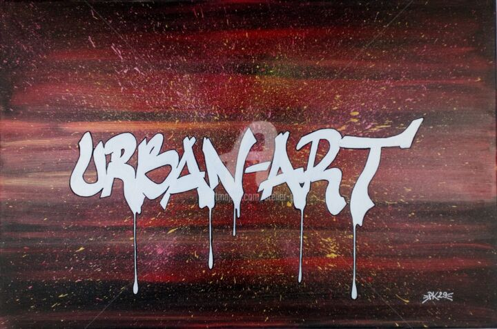 "Tableau Street-Art ""URBAN-ART"" - Toile 40X60 - PK29 - Painting,  15.8x23.6x0.7 in, ©2020 by Pk29 -                                                                                                                                                                                                                                                                                                                                                                                                                                                                                                  Street Art, street-art-624, Calligraphy, Colors, Graffiti, GRAFFITI, TAG, URBAN, URBAIN, STREET ART"