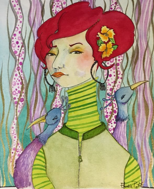 Lady RED - Painting,  17.8x23.8 cm ©2019 by Atelier2rag -                                                                                Naive Art, Paper, Women, Birds, Portraits