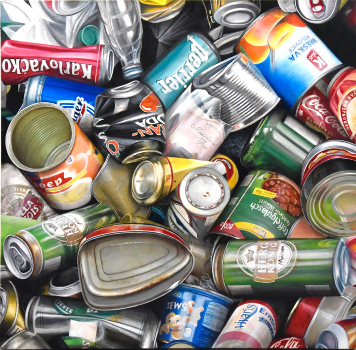 Natural park of Croatia - Painting,  39.4x39.4x1.6 in, ©2010 by MC_GARBAGE -                                                                                                                                                                                                                                                                                                                                                                                                                                                                              Nature, cans, bottle, tins, déchet, garbage, détritus, poubelle, litter, waste