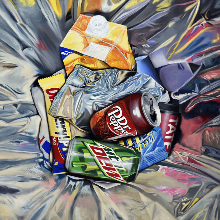 TATE MODERN - Painting,  39.4x39.4x1.6 in, ©2013 by MC_GARBAGE -                                                                                                                                                                                                                                                                                                                                                                                                                                                                                                                                                                                                                                                                                                                              Hyperrealism, hyperrealism-612, Still life, cans, museum, tate modern, dr peppers, mtn dew, soda, garbage, waste, poubelle, litter, reflection, reflets