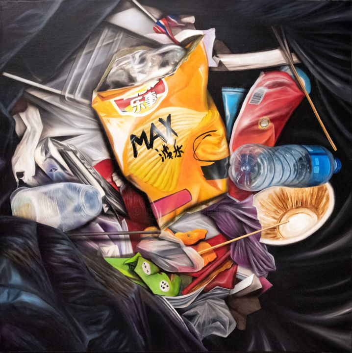 NATHAN ROAD - Painting,  39.4x39.4x1.6 in, ©2018 by MC_GARBAGE -                                                                                                                                                                                                                                                                                                                                                                                                                                                                                                                          Nature, poubelle, hong kong, asie, waste, litter, garbage, chips, china, chine, plastique